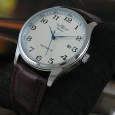 Winner Classic Men Automatic Mechanical Stainless Steel Leather Date Wrist Watch