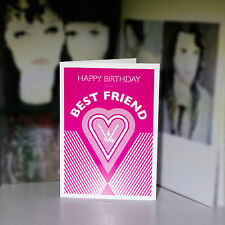 Best Friend Happy Birthday card for girl woman female friend for ever pink heart