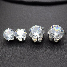 FAST DELIVERY Gold or Silver 18KGP Crystal Zircon Round Stud Earrings 8mm / 6mm