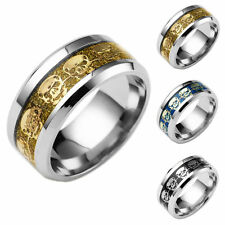 8MM Men Women Fashion Stainless Steel Titanium Rock Skull Band Ring Size 6-13