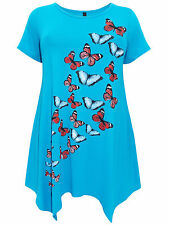 Ivans Womens BLUE Butterfly Print Hanky Hem tunic Top - Plus Sizes 18-20 -22/24