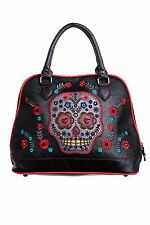 Banned Women's Fashion  Purple Sugar Skull Handbag Rockabilly Tattoo Gothic Bag