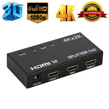 1x2 2 Port HDMI Splitter Repeater Amplifier Alloy 1 In 2 Out Hub 3D 4K 1080p