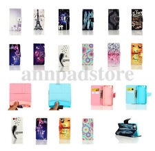 Colorful Flip Card Holder Stand PU Wallet Leather Case Cover For Phone Cute Skin