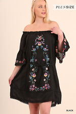 NWT UMGEE Plus Peasant Style Off Shoulder Black Embroidered Dress WA2856 XL-2X