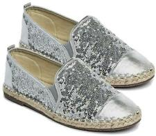 WOMENS FLAT SILVER SEQUIN SLIP ON ESPADRILLES LADIES PUMPS CASUAL COMFORT SHOES