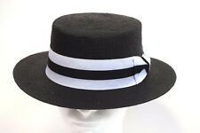 Men's Dress Casual Boater Hat Skimmer Sailor Barbershop Straw Black S, M, L, XL