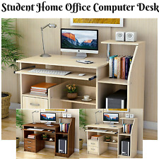 Student Study Table Home Office Computer Desk Drawers & Shelves Walnut or White