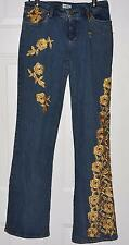 CACHE Gold Toned Jeweled Rhinestones Embellished Jeans Sz 8 Boot Cut Side  Chain