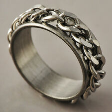 Mens White Stainless Steel link Band Promise Love Band spin Ring Size 8 9 10 11