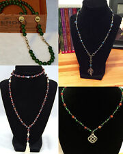 HANDMADE NECKLACES, Celtic Knot & Dragon Pendants, w/Jade, Tiger Eye/Skull Beads