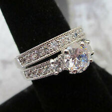 Ladies Classic Engagement 2 RING wedding band set Size 5, 6, 7, 8, 9, 10