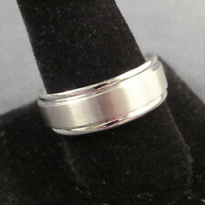NEW TITANIUM RING Brushed with Side Step 8mm Wedding Band Size 8, 9, 10, 11, 12