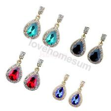 1Pair Wedding Bridal Rhinestone Crystal Teardrop Dangle Drop Earrings Jewelry