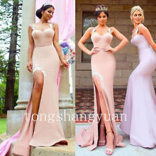 2017 Sexy Evening Dresses For Women Satin Formal Prom Gown Party Sleeveless Slit