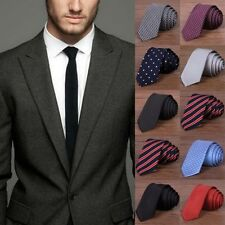 Men Casual Solid Plain Classic Striped Tie Jacquard Woven Silk Slim Tie Necktie
