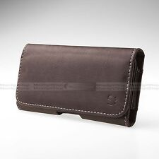 Luxury Cell Phone Brown PU Leather Horizontal Holster Belt Loop Clip Pouch Cover