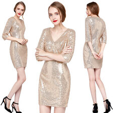 Stunning Sequin Wiggle Cocktail Evening Party Bodycon Pencil Bridesmaids Dress