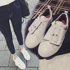 Womens PU Leather Buckle Flat Board Shoes Low Top Casual Oxfords Round Toe Shoes