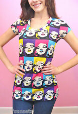 Betsey Johnson Betsey Babe Multi Face Marilyn Wink Tee Shirt Top