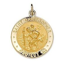 US MARINES St. Christopher Medal Reversible 14K Solid Yellow Gold & Sterling