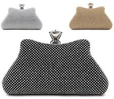 LADIES DIAMOND CRYSTAL CLASP TOP EVENING BAG CLUTCH PURSE PARTY PROM WEDDING