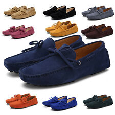 Mens suede Leather tie SLIP-ON Casual loafers diving shoes moccasins boat shoes
