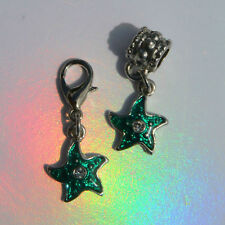 EUROPEAN OR LOBSTER CLASP CLIP ON STYLE GREEN ENAMEL STAR / FISH BRACELET CHARMS