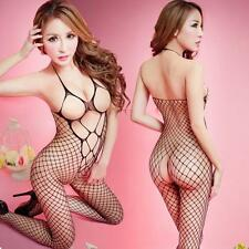 Womens Floral Lingerie Sexy Open Crotch Nightwear Mesh Bodystockings Bodysuits