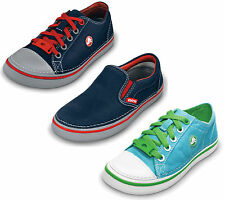 "CHILDREN CROCS ""HOVER SNEAK"" LACE UP SLIP ON LOW TOP CASUAL CANVAS SHOES"