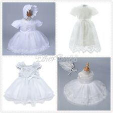 Baby Flower Girl Embroidered Christening Baptism Kid Gown Lace Dress with Bonnet