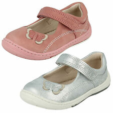 INFANT GIRLS CLARKS LEATHER RIPTAPE BUTTERFLY MARY JANE FIRST SHOES SOFTLY WOW