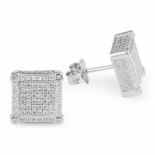Unisex Solid 925 Sterling Silver CZ Micro Pave Square 10mm*10mm Stud Earrings