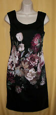 Vivienne Tam black pink white rose floral zip sleeveless lined dress top 8P $118