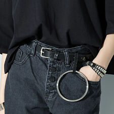 Women Leather Buckle Pin Metal Round Ring Circle Designer Jeans Waist Belt NEW