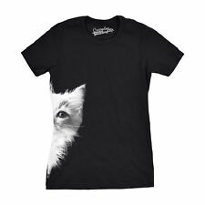 Womens Peek a Boo Kitty Funny Cat Face Crazy Cat Lover Adorable Kitten T shirt