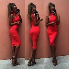 Women Sexy Sleeveless Bandage Bodycon Evening Party Cocktail Red Club Mini Dress