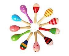 New 5/10pcs Kid Baby Wooden Wood Maraca Rattles Shaker Percussion Musical Toy US