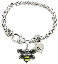 Custom Yellow Black Bumble Bee Silver Bracelet Jewelry Choose Initial or Family