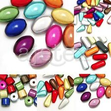 Acrylic 3D Illusion Miracle Beads Spacer Cylinder/Teardrop/Oval/Capsule Mixed