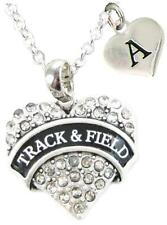 Custom Track & Field Silver Necklace Jewelry Choose Initial or Family Charms