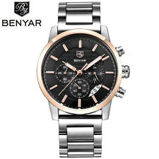 BENYAR Chronograph Stainless Steel Strap Men Aviator Quartz Wrist Watch Gift Box