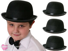 CHILD'S BLACK FELT BOWLER HAT 55CM FANCY DRESS COSTUME ACCESSORY DANCE SHOW LOT