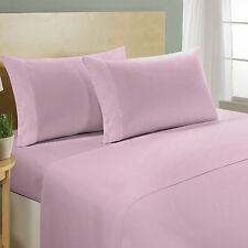 New British Bedding Collection 100% Organic Cotton 1000 TC Pink Solid