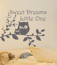 Sweet Dreams Wall Decal Baby Nursery Wall Decal Quote Owl Baby Nursery MN1029