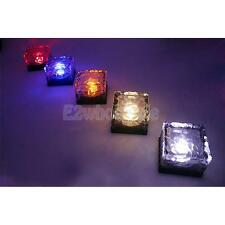 Solar Power LED Color Changing Cube Crystal Glass Ground Brick Path Light