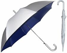 Silver Sunblock Umbrella with Navy Blue Lining - UV Protection Umbrella NEW