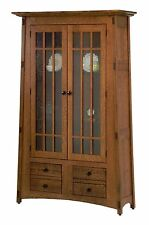Amish Handcrafted McCoy Bookcase Mission Arts & Crafts Solid Wood Glass Doors