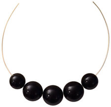 KENNETH JAY LANE-5 BEADS ON GOLD WIRE NECKLACE-BLACK