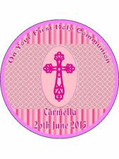 "FIRST HOLY COMMUNION 9"" ROUND CAKE TOPPERS PERSONALIZED EDIBLE PHOTOS ITEM907"